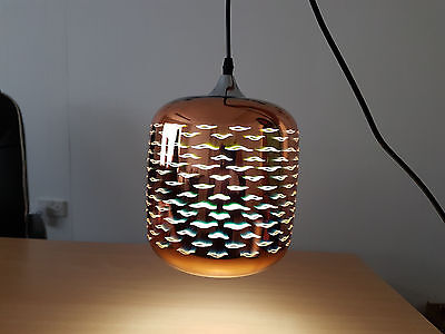Celiling Light 3D Vision Cylinder Glass Pendant In Gold Colour And Chrome Finish