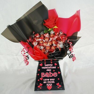 Personalised Valentines Lindt Lindor Chocolate Sweet Bouquet Hamper