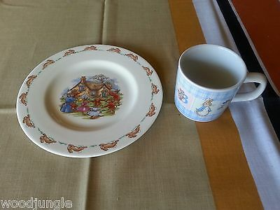 Vintage BUNNYKINS  PLATE  PETER RABBIT CHILDS CUP ROYAL DOULTON WEDGWOOD ENGLAND