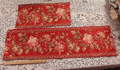 Two Antique French 19th Century Cotton/Linen Rose Stripe Or Border Print~