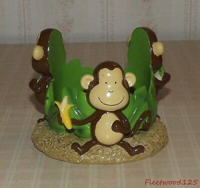 3 Monkeys with Bananas and Leaves Tumbler / Candle Holder Rack