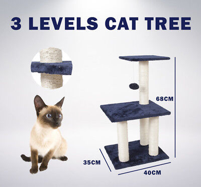 Cat Post Scratching Tree House | 3 Level | Gym Furniture Scratcher Pole Toy Bed