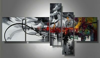 5P MODERN ABSTRACT HUGE WALL ART OIL PAINTING ON CANVAS(no framed)