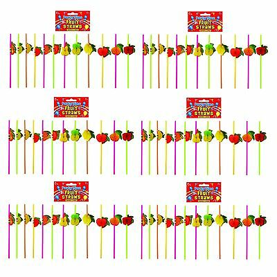 Cocktail Party Fruit Fold Out Drinking Straws 12-72pk - Luau, Hawaiian, Beach