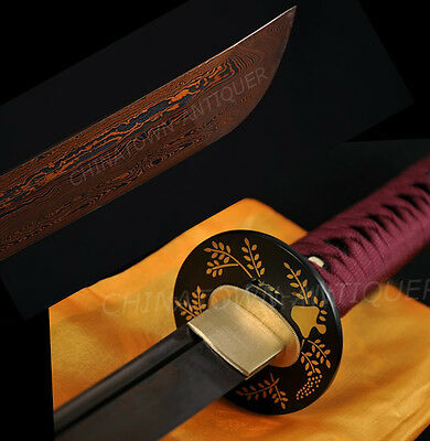 Japanese Samurai Sword Black w Red Folded Steel Full Tang Blade Katana #1697