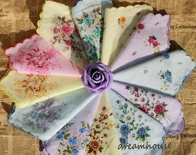 12 Women Lady Child Cotton Hankies Vintage Floral Flower Wedding Handkerchief