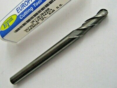 4mm SOLID CARBIDE BALL NOSED 3 FLUTED SLOT / END MILL EUROPA TOOL 3073030400  #4