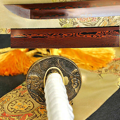 Japanese Samurai Sword Katana Black&Red Folded Steel Full Tang sharp Blade #1700