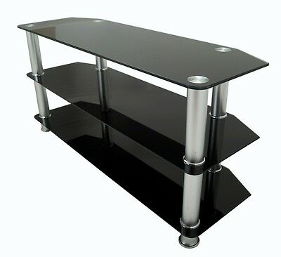 Black Glass TV Stand For Large LED LCD Plasma Television 32 - 60""
