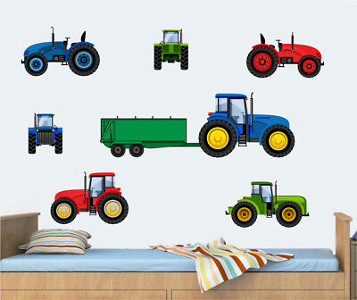 Tractor Blue Red & Green - 10 Pack Wall Art Vinyl Stickers JCB Digger Decals