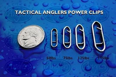 Tactical Anglers Power Clips Paperclip Fishing Lure Bulk Fast Snap 25 pack 175lb