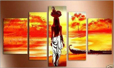Modern Landscape Art Abstract Huge Oil Painting On Canvas African Girl (no frame