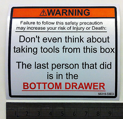 Warning Toolbox Bottom Drawer Sticker,tool Box Decal / Chest,