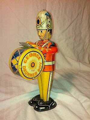"Louis Marx Litho Wind-Up ""George The Drummer Boy"" Tin Toy"