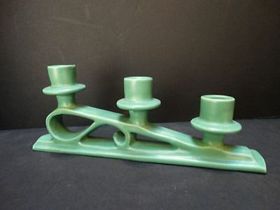 Catalina Island Pottery Descanso Green Triple Candlestick