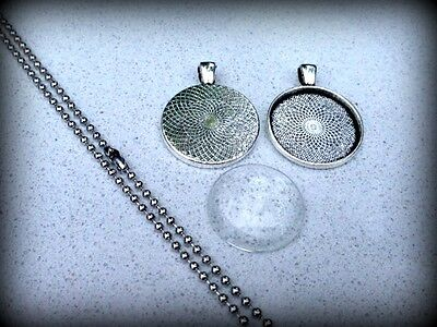 10 x DIY round antique silver plated pendant kit - 1""