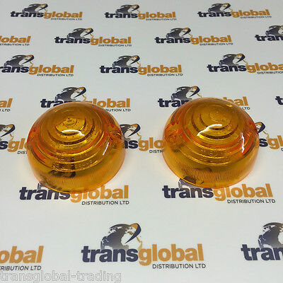 Land Rover Series 2 2a 3 Amber Indicator Light Lenses Lens x2 - Bearmach STC319