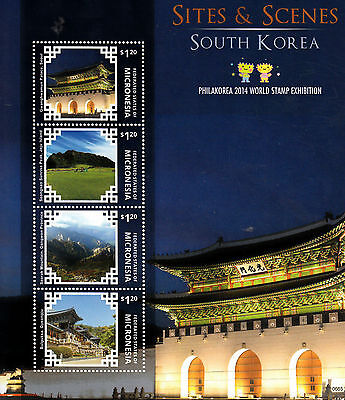 Micronesia 2014 MNH Sites & Scenes South Korea 4v M/S Philakorea Bulguksa