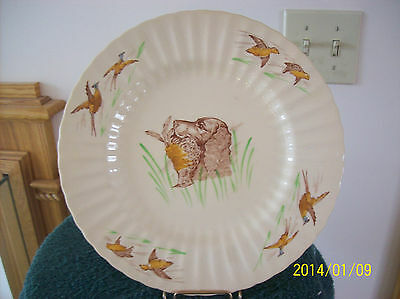 "Plate/Charger Antique Porcelain Multi-Colored Wade ""Dog & Pheasant""  England"