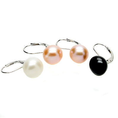 Leverback Pearl Earrings Sterling Silver 10mm Cultured Freshwater Pearls Boxed