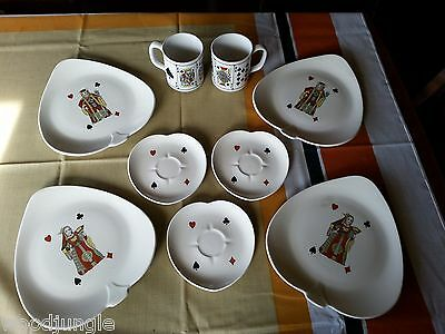9pc PLAYING CARDS PLATES MUGS SUITS TEXAS HOLD EM BRIDGE AMERICAN LIMOGES CASINO