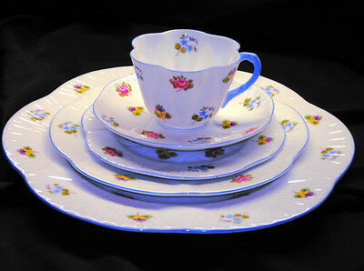 SHELLEY DAINTY ROSE PANSY TEA CUP AND SAUCER PLATE one place setting