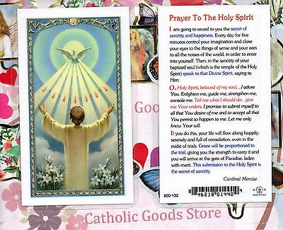 Receiving Holy Spirit with Prayer to The Holy Spirit - Laminated Holy Card