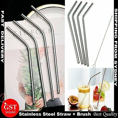 4x Stainless Steel Metal Drinking Straw Straws Bent Reusable Washable + Brush AU