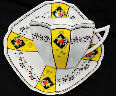 SHELLEY DIAMOND WHITE QUEEN ANNE FRUIT YELLOW  TEA CUP AND SAUCER