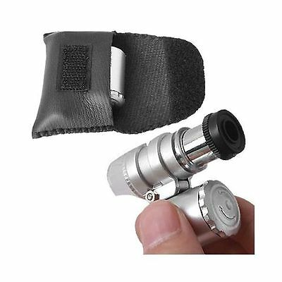 60X Mini Pocket Jeweler Microscope Loupe 3 LED Magnifier Currency Detecting NEW