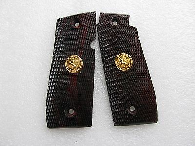 New Colt Government 380 Grip, Checkered Rosewood - Thai Handmade
