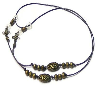 Bronzed Beaded brown cord Reading eye glasses spectacle chain holder lanyard