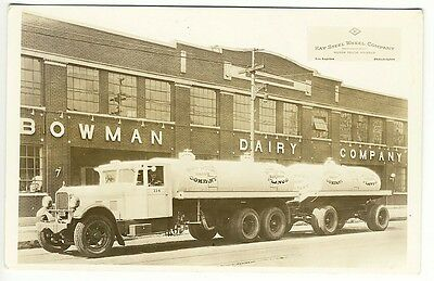 Chicago IL Bowman Dairy Milk Truck Building RPPC Real Photo Postcard