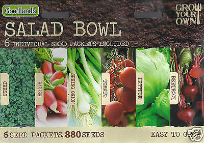 Grow Your Own Salads Bowl ,6 In One Mixed Variety Pack 880 Seeds Garden Herbs