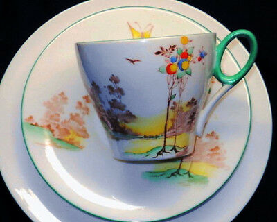 SHELLEY ART DECO OXFORD TEA CUP AND SAUCER TRIO ONE SET - 2 AVAILABLE
