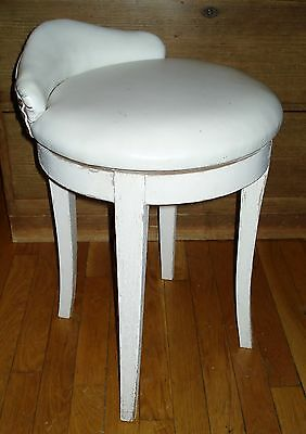 Vintage MCM Vanity Chair Swivel Stool White Faux Leather Upholstered Seat 1950s