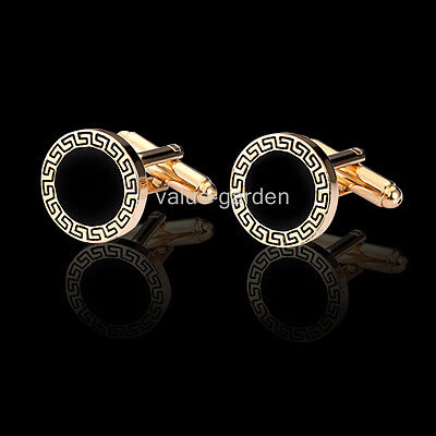 Honey Bear Mens Luxury Classic Round Black With Gold carved  Wedding Cufflinks