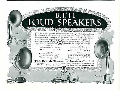 1924 BTH Loud Speakers AD British Thomson Houston Wireless Tungar Magnetism