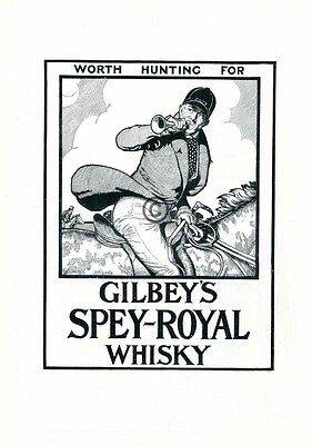 1924 Gilbeys Spey Royal Whisky AD Hunt Master Bugle Horse Foxhunting