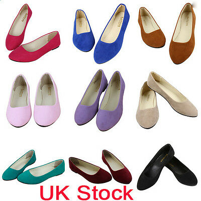 New Womens Flat Pumps Ladies Faux Suede Ballet Ballerina Dolly Bridal Shoes Size