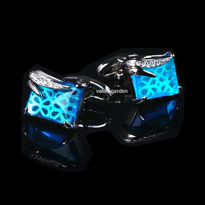 Novelty Mens Stainless Steel Blue Crystal Wedding Shirt Cufflinks High Quality