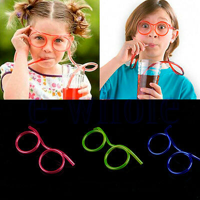 Boys&Girls Funny Novelty Creative Glasses Straw Flexible Drinking Tube Kids Gift