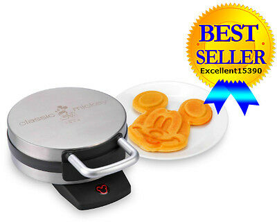 Disney Mickey Waffle Maker Classic Brushed Stainless Steel dcm1 1 New Free Ship