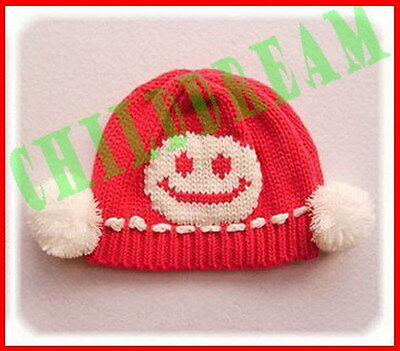 Japanese Korean Baby Child Kids Hats Caps Cute Lovely Warm Smile Face Rose Red