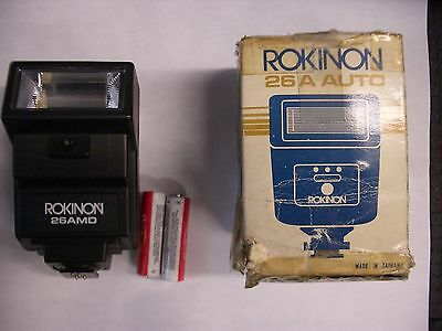 ROKINON 26A 26AMD Auto Automatic Electronic Flash + 2X AA Batteries