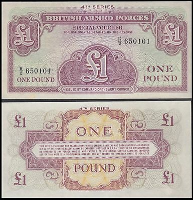 Great Britain England Military 1 Pound Banknote, ND 1962, P-M36, UNC, 4th Series