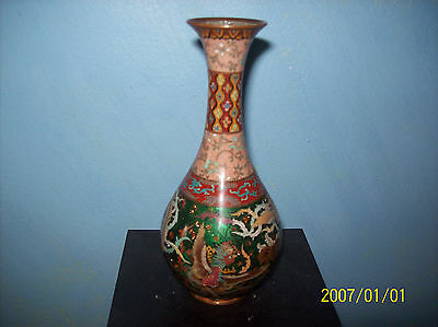 ANTIQUE JAPANESE 19TH CENTURY CLOISONNE VASE IN SILVER AND GOLD WIRE