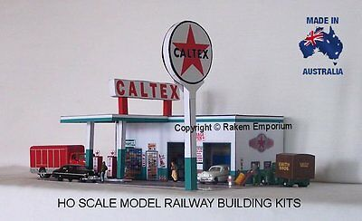 HO Scale Caltex Garage Petrol Station Model Railway Building Kit - CTS1