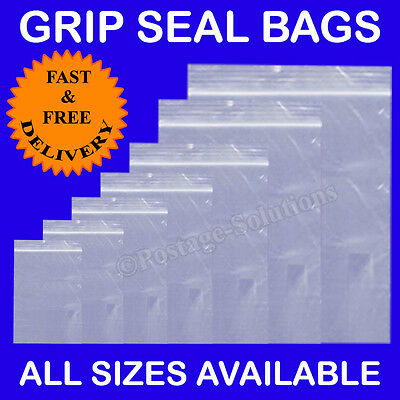 100 Grip Seal Self Seal Clear Poly Plastic Bags FAST & FREE POSTAGE Cheaper!!!