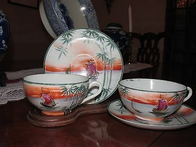 Handpainted ANTIQUE Japan 2 Moriage Cup & Saucers~Bamboo Trees, Sampans